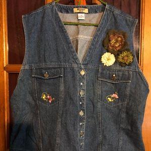 Jackets & Blazers - Embellished Denim Vest Plus Size